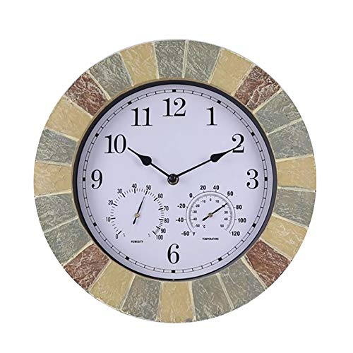 """QHTC Garden Slate Effect Wanduhr mit Thermometer und Hygrometer-35,5 cm römische Ziffern, Outdoor römische Ziffern wasserdichte Uhr (14"""")"""