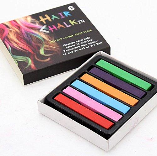 6 x Haarkreide Set auswaschbar für helle und dunkle Haare für Frauen und Kinder - Haarkreide Kamm auch für Männer - Haare färben