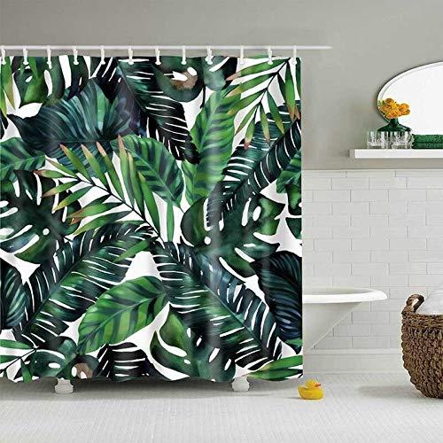 SMNHSRXH douchegordijn tropische planten badkamer douchegordijn polyester waterdicht bladeren drukgordijnen voor bad douche groen anti-schimmel