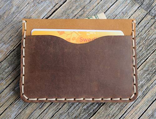 Hellbraunes und Braunes Kartenhülle, Portemonnaie, langlebige Aufbewahrung von Kreditkarten und Banknoten. Geldbörse,
