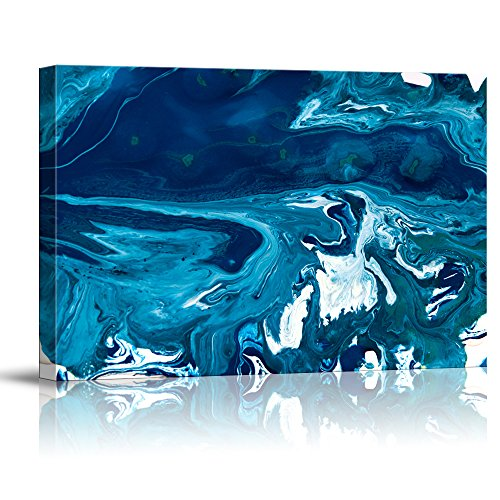 wall26 - Canvas Wall Art - Blue Wave Currents with White Caps - Giclee Print Gallery Wrap Modern Home Art Ready to Hang - 32x48 inches
