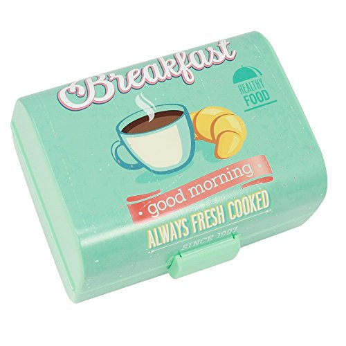 COM-FOUR® Caja de desayuno vintage - Caja de almuerzo con 3 compartimentos - Caja de desayuno - Fiambreras para el colegio o trabajo, 17 x 13 x 10 cm (01 piezas -