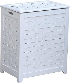 Oceanstar RHV0103W Rectangular Veneer Laundry Wood Hamper, White Finished