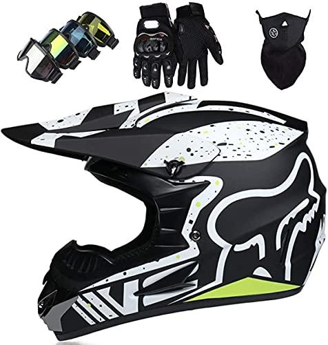 XYYMC Casco de Moto de Motocross de Integrales para Niños y Adultos Gafas + Guantes + Máscara para Scooter Eléctrico Dirt Bike MTB MX ATV con Diseño Fox - Homologado Dot, Negro Mate (L)