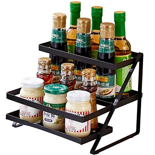 Especiero Organizador de 2 niveles de almacenamiento en rack de cocina, soporte del contador Estante de almacenamiento utensilios para botellas tarros