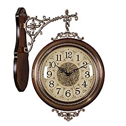 NgFTG American Style Double Sided Wall Clock, Solid Wood Metal Silent European Clock,Vintage Wall Hanging Decorative Clock Home Decor-c 40x51cm(16x20inch)