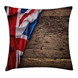 N/A Union Jack Throw Pillow Cushion Cover, Flag of United Kingdom on Old Oak Wooden Board English Nation Country Britain, Decorative Square Accent Pillow Case, 18 X 18 Inches, Multicolor