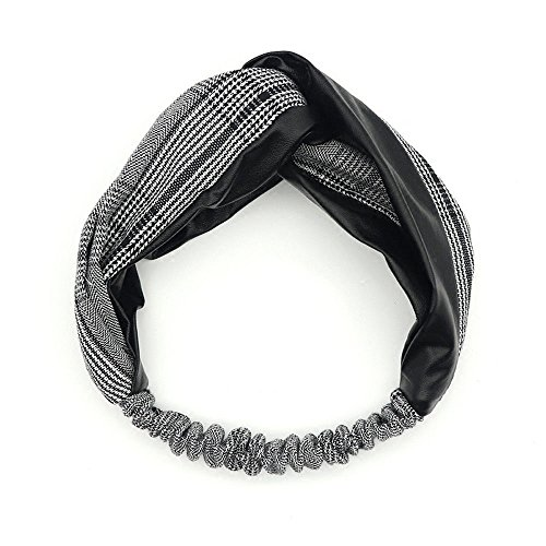 Accessoire pour cheveux vintage cuir à carreaux tempérament couture bandeau pour cheveux croisés bandeau pour femme cuir noir et blanc