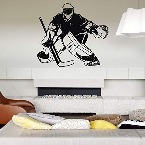 shiyueNB hockeyspeler IJs keepert muurtattoos jongens slaapkamer kinderkamer kinderdagverblijf muurtattoos sporters muurschildering fotobehang 58x65cm