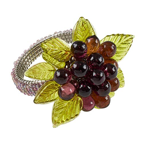 SARO LIFESTYLE NR728.PU Collection Beaded Napkin Rings with Flower and Leaves (Set of 4), 2.5' x 2.5', Purple