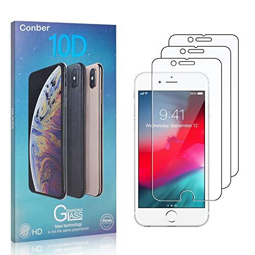 Conber [3 Pièces] Verre Trempé pour iPhone 6S / iPhone 6, Dureté 9H vitre de Protection, Compatible avec Coques, Film Protection Ecran pour iPhone 6S / iPhone 6