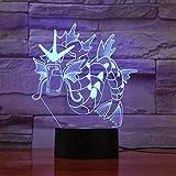 Pokemon 3D Lampe Gyarados 7 Couleur Led Lampes de Nuit Pour Enfants Tactile Led Usb Table Lampara Lampe Bébé Dormir Veilleuse