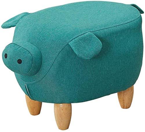 JSMY Reposapiés con reposapiés y pufs otomanos de Animales,Taburete bajo para sofá con puf para niños con Pata de Madera,Cerdo Verde