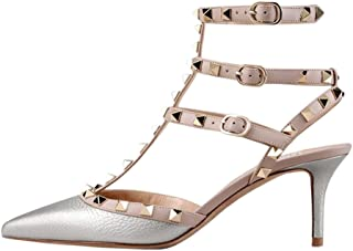 Women's Heeled Shoes, Sexy Rivets Studs Decoration Pointed Toe Thin Heel Sandals