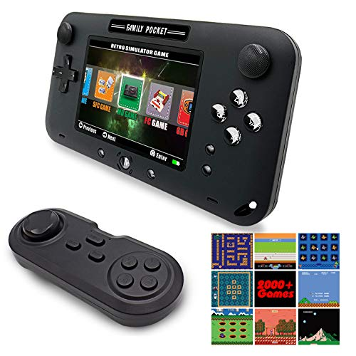 """EASEGMER Handheld Games for Kids Adult, Built-in 2000+ Retro Handheld Video Games with 16 TF Card - 4"""" LCD Electronic Learing Games Console with 16 Bit Game Controller for Travel and Gifts- Black"""