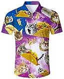 ALISISTER Youth Hawaiian Shirt Mens Aloha Button Down Shirts 3D Printed Cat...