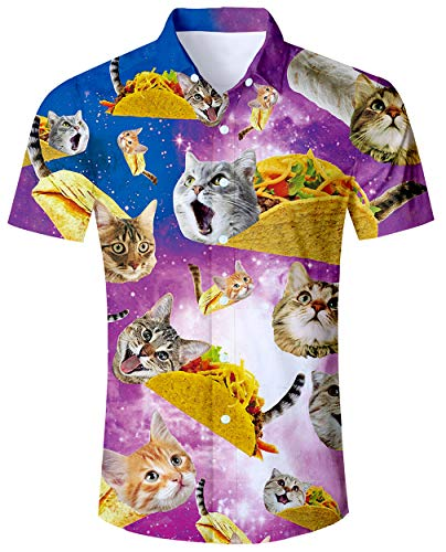 ALISISTER Youth Hawaiian Shirt Mens Aloha Button Down Shirts 3D Printed Cat Tropical Blouses Short Sleeve Top Summer Party Clothes Medium