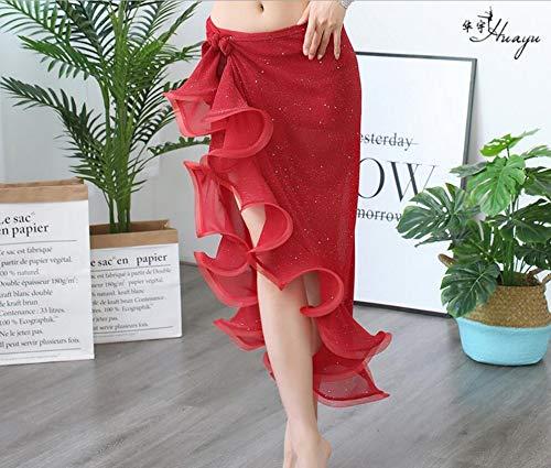 CHENTAOCS buikdans kostuum voor vrouwen buik dansen Rok Wikkel Hip sjaal met ruches Side Slit Donker Groen Korea Ontwerp Eenvoudig te gebruiken 102cm Length Rood