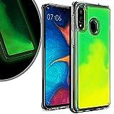 VenSen Liquid Fluorescent Case for Samsung Galaxy A20 Galaxy A30 Soft TPU Luxury Glow in The Darkness Noctiluncen Luminous Neon Sand case Fit GalaxyA20 GalaxyA30 (Green)