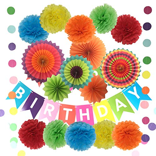 Happy Birthday Party Decorations with Tissue Pom Poms Paper Flowers Paper Fans and Garlands String Polka Dot - 10 Pcs Pom Poms and 6 Pcs Paper Fans