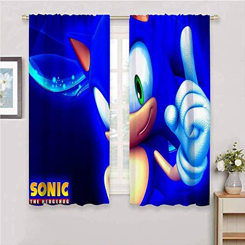 Cortinas de ventana con bolsillo para barra, diseño de Sonic the Hedgehog con aislamiento térmico para sala de estar, cortinas de bolsillo de barra, 137 x 96 cm