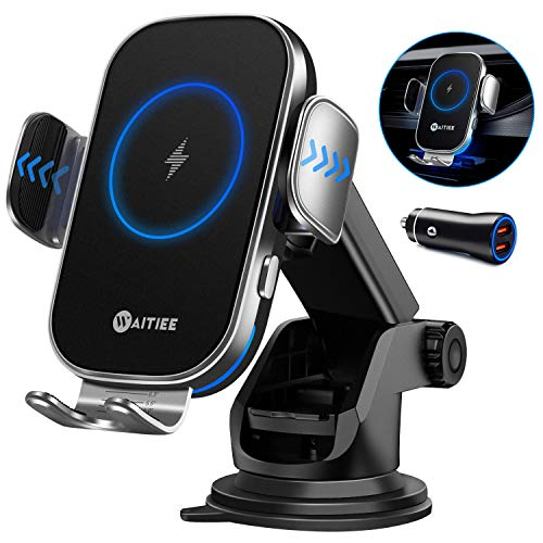 WAITIEE Wireless Car Charger,15W Fast Charging Automobile Chargers,Air Vent Dashboard Car Mount for iPhone 12 Series/11/Pro Max,Samsung S10/S9/S8/S20 Series(with Quick Charge 3.0 Car Adapter)