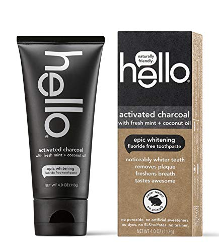 Hello Oral Care Activated Charcoal Teeth Whitening Fluoride Free and SLS Free Toothpaste, 1 Count