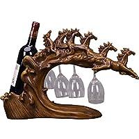ワインホルダー ワインラック北欧の創造的なワインスタンドワインキャビネットの装飾馬の装飾品ホームリビングルームの入り口テレビキャビネットの装飾新築祝いの贈り物、組み立ては不要、キッチンの収納キャビネットで使用 (Color : Brown, Size : 54*16*32cm)