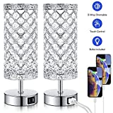 Touch Control Crystal Table Lamp Set of 2 Bedside Nightstand Lampswith 2 USB Charging Ports, 3-Way Dimmable, K9 Crystal Decorative Desk Lamp for Bedroom, Girls Guest Room, Living Room, Bulbs Included
