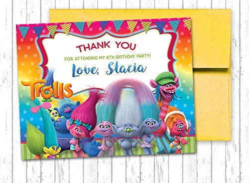 10 TROLLS Movie Princess Poppy Rainbow Thank You Cards 4.25x5.5