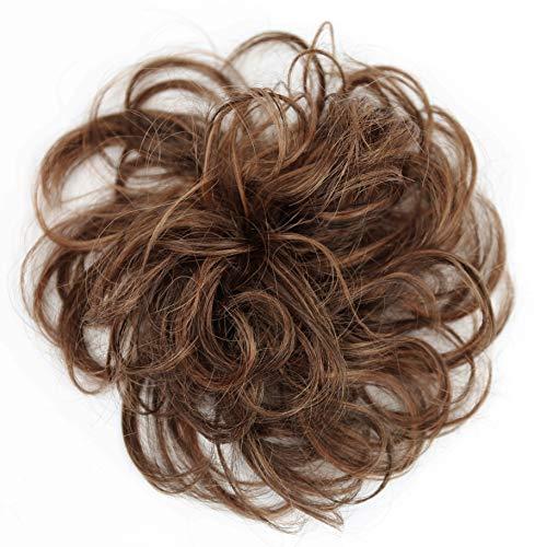 PRETTYSHOP 100% Echthaar Humanhair Haargummi Haarteil hairpiece Haarverdichtung Zopf Haarband Haarschmuck div. Farben (braun mix #4H30)
