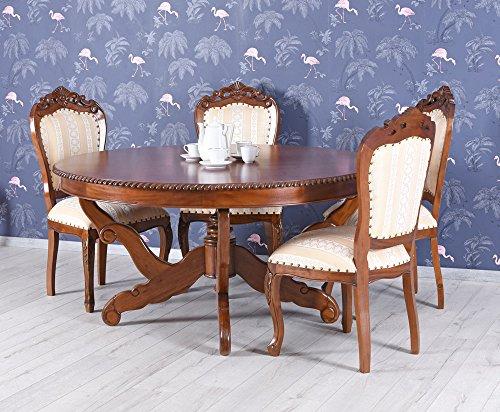 Esstisch XXL Mahagonitisch Holztisch rund Massivholz Tisch Antik Palazzo Exklusiv