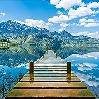 カスタム壁画壁紙部屋青空白い雲木製橋湖水自然風景画壁画-350x250cm