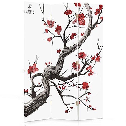 Feeby Frames Biombo Impreso sobre Lona, tabique Decorativo para Habitaciones, a Doble Cara, de 3 Piezas (110x150 cm), Cerezo JAPONÉS, Blanco, Rojo, Negro