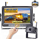 Wireless Backup Camera,LeeKooLuu F06 HD 1080P 170° Wide View Angle Night Vision Backup Camera + 7'' Touch Button Monitor High-Speed Observation System for RVs Trailers Trucks 5th Wheel DIY Grid Lines