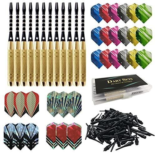 Surenhap Set di freccette professionali con punta morbida, 12 freccette + 100 punte morbide