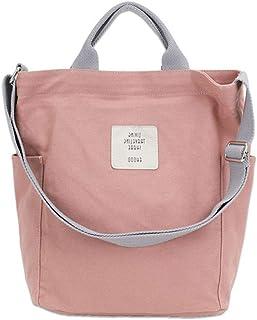 KIWITECH Umhängetaschen groß Tasche Canvas Damen Rosa Handtasche Damen Schultertasche Crossbody Bag Shopper für Schule Sho...
