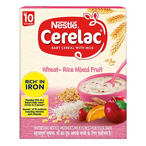 Nestle CERELAC Baby Cereal with Milk, Wheat-Rice Mixed Fruit – From 10 Months, 300g Bag-In-Box Pack