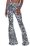 Herose Tall Ladies S-2XL Soft Pattern Bell Bottoms Floor Length Ethnic Boho Flared Pants, Black, XX-Large