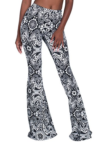 Herose Tall Ladies S-2XL Soft Pattern Bell Bottoms Floor Length Ethnic Boho Flared Pants, Black, Large