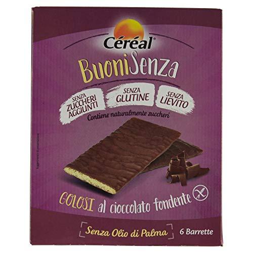 Céréal Barrette al Cioccolato Fondente, Senza Glutine, Lievito e Latte – Confezione da 6 Pezzi, 102 g