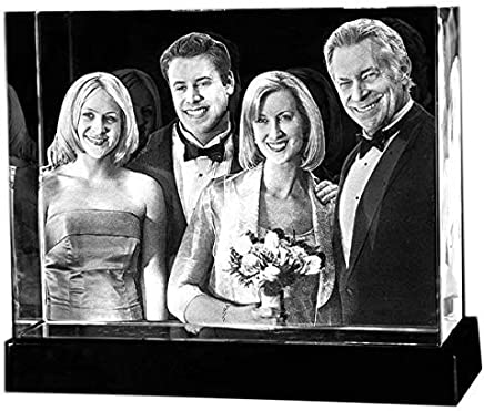 Personalized Custom 2D/3D Holographic Photo Etched Engraved Inside The Crystal with Your Own Picture XL (Birthday, Wedding Gift, Memorial, Mother's Day,Valentine's,Christmas)