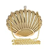 ClearloveWL Bolso de noche para mujer, diseño de conchas, diamantes mezclados de color caramelo con bolsa de hombro de cadena (color dorado)