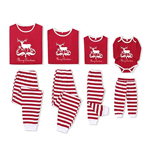 Family Christmas Matching Pajamas Cotton Pjs Set Holiday Sleepwear Red Long Sleeve Infant Romper Newborn Holiday Pajamas Pant Baby Clothes 0-3 Months Unisex