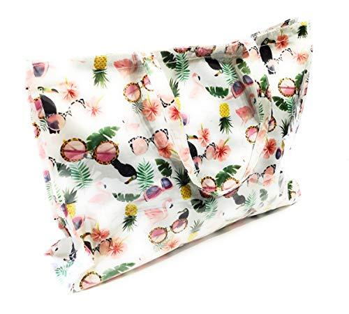 Damen Plastik Strandtasche groß XXL Shopper mit Reißverschluss wasserfest, Ideal für den Strand oder als Einkaufstasche, Flamingo Gestreift