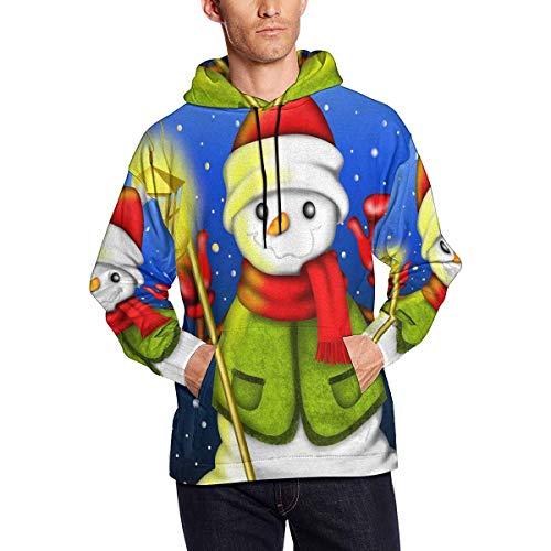 InterestPrint Snowman Lantern Green Sweater Men Hooded Sweatshirts - All Over Print Long Sleeve Hoodies 3XL