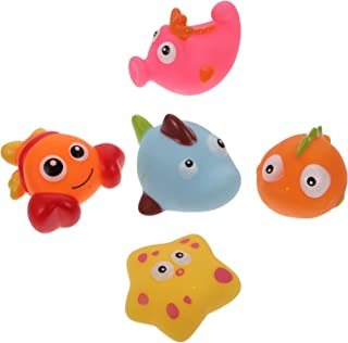 TOYANDONA 5pcs Sea Animal Bath Toy Cute Fish Shape Bathtub Toys Baby Bath Splashing Toys for Bath Time Baby Gifts