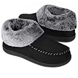 Women's Bootie Slippers Suede Moccasin Boots Fuzzy Plush Faux Fur House Shoes Winter Warm Memory Foam Non-Slip Indoor Outdoor, Black, Size 10