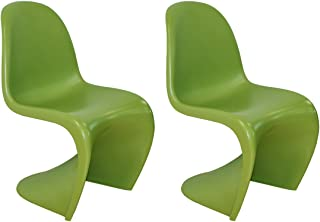 Mod Made S Shape Chair Mid-Century Modern 2-Pack, Green