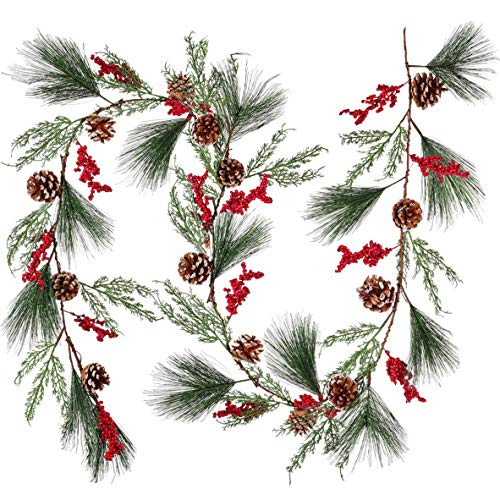 Artiflr 6 feet Christmas Pine Garland with Spruce Cypress Berries Frosted Pinecones Winter Artificial Greenery Garland for Holiday Season Mantel Fireplace Table Runner Centerpiece Decoration